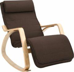 Bruine Songmics Schommelstoel Gemaakt Van Berkenhout - Relaxstoel - Ontspannen Stoel