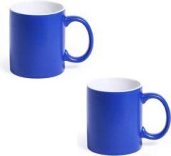 Shoppartners 8x Drinkbeker/mok blauw/wit 350 ml - Keramiek - Blauwe mokken/bekers voor onbijt en lunch