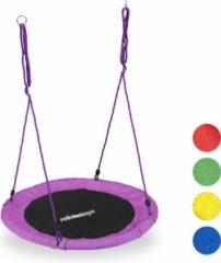 Relaxdays Nestschommel - kinderschommel - schotelschommel - schommel buiten - rond - 90 cm Paars