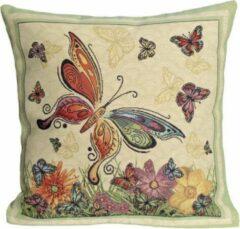 Emme Tafelkleed serie - Luxe gobelinstof - Vlinder - Kussenhoes 45 x 45cm