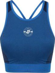 Marineblauwe FitProWear Naadloze Sporttop Milano Dames - Blauw/Navy - Maat XL - Stretch - Sporttop - Crop Top - Naadloze sporrtop - Sportkleding - Sporthemd - Sport BH - Fitness Beha - Fitness BH - Fitnesskleding - Milano Lijn - Sport beha