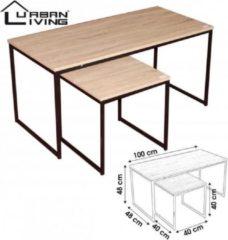 Zwarte Urban Living 2-delig Salontafel & Bijzettafel - Industrieel design - MDF Hout - Metalen frame