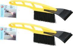 2x Gele ijskrabbers/ijsschrapers met borstel - 10 x 9 x 31 cm - Auto winter accessoires