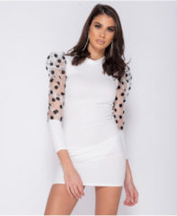 Witte Parisian Sheer polka dot organza sleeve bodycon mini dress