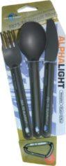 Grijze Sea to Summit Alphalight Cutlery Set Campingbestek - Bestekset - mes, lepel & vork - Aluminium