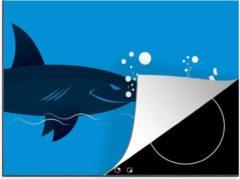 KitchenYeah Luxe inductie beschermer Zwemmen illustratie - 70x52 cm - Een illustratie van een zakenman die weg zwemt voor een haai - afdekplaat voor kookplaat - 3mm dik inductie bescherming - inductiebeschermer