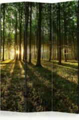 Groene Kamerscherm - Scheidingswand - Vouwscherm - Morning in the Forest [Room Dividers] 135x172 - Artgeist Vouwscherm