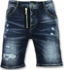 Enos Spijkerbroek Kort Heren - Driekwart Broek Mannen - J975 - Blauw Korte Broek Short Jeans Maat W34