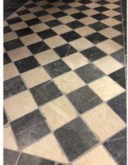 Kerabo Vloer- en wandtegel Dambord vloer van beige marmer en hardsteen 10x10x1 cm Natuursteen look Gezoet/verouderd Multi SW0732409
