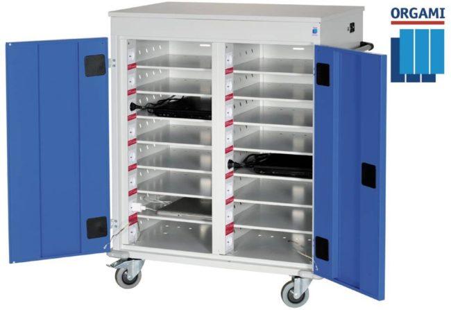 Afbeelding van Blauwe Orgami Laptopkar 16-vaks RS met stroomvoorziening