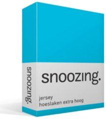 Snoozing jersey hoeslaken extra hoog - 100% gebreide jersey katoen - Lits-jumeaux (200x200 cm) - Turquoise