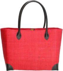 PE Florence Vrolijke rieten strandtas, rood