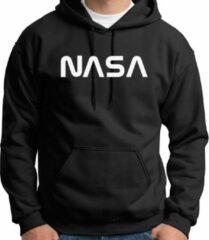 Zwarte Gildan Hoodie sweater | official NASA logo white | Maat Smal