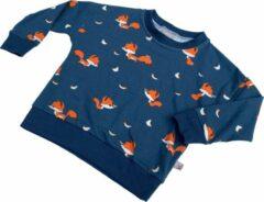 Tinymoon Unisex Sweater – model batwing – Foxy – Blauw – Maat 110/116