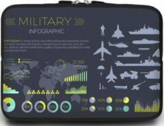 Case2go Universele Laptop Sleeve - 15.6 inch - Military Infographic