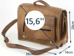 "Merkloos / Sans marque Satcheltas 15,6 inch ""Estrela"" - Messengertas - Bruin Echt Leer Werktas - ECHTE LEDER - Unisex Vintage Design - Aktetas - Handgemaakt - A4 formaat - Cadeauverpakking"