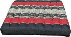 DeSfeerbrenger Kussen - Stoelkussen - Zitkussen - Meditatiekussen Thais design Rood-Zwart 50 x 50 cm