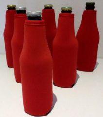Koozie.eu - 6 stuks bierfleshouder- flessen koel houder | bierfleshoes | rood