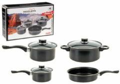 Zilveren Redcliffs Camping/Outdoor/Reis pannenset aluminium 7-delig - Kampeerspullen - Camping benodigdheden/accessoires