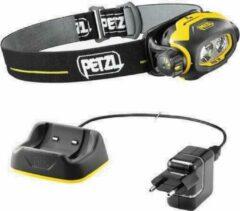 Gele Petzl Pixa 3R, oplaadbare ATEX hoofdlamp, 90 lumen