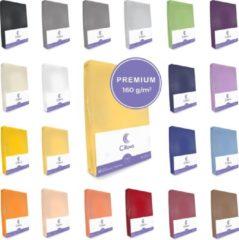 Cillows Premium Jersey Hoeslaken voor Matras - 140x200 - 160x220 cm - (tot 25 cm hoogte) – Goud Geel