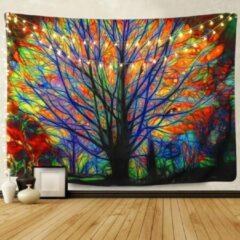 Blauwe Ulticool - Boom Vogel Licht Psychedelisch Natuur - Wandkleed - 200x150 cm - Groot wandtapijt - Poster