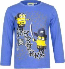 Minions Minion shirt met lange mouw - piraten - blauw - maat 98/104 (4 jaar)