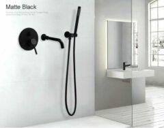 Merkloos / Sans marque Productgigant- Badkraan met handdouche- inbouw badkraan - Mengkraan - mat zwart