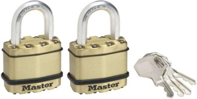 Afbeelding van Gouden MasterLock 2x weersbestendige hangsloten Excell M1BEURT