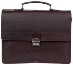 Donkerbruine Burkely Dean Vintage Aktetas 3-vaks 637922 Dark Brown