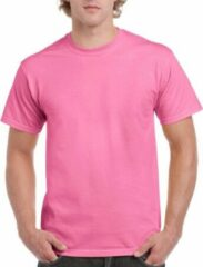 Gildan Set van 2x stuks roze katoenen shirts voor volwassenen/heren - Midden roze - 100% katoen - 200 grams kwaliteit, maat: L (40/52)