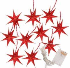 Bellatio Decorations Kerstverlichting op batterijen lichtsnoer met rode papieren sterren 250 cm - Snoer met verlichte sterren - verlichting