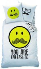 Smileyworld Smiley World Moustache - Dekbedovertrek - Eenpersoons - 140 x 200 cm - Multi