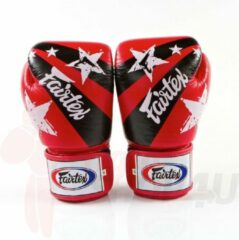Fairtex (kick)bokshandschoenen Nation Print Rood 16oz