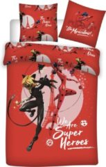 Zagtoon Miraculous Dekbedovertrek Superheroes - Eenpersoons - 140 x 200 cm - Rood
