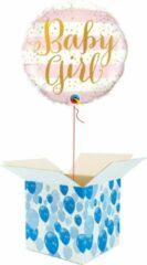 Roze Boemby Helium Ballon Hart gevuld met helium - Geboorte - Cadeauverpakking - Baby Girl! - Folieballon - Helium ballonnen geboorte