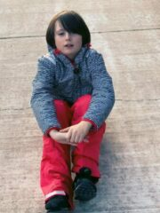 Ducksday - kerstpakket - skiset voor kinderen - omkeerbare jas en skibroek - Flicflac/rood - 134/140