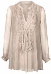 Naturelkleurige Lange blouse