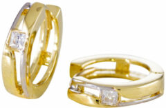 Gold Collection Gouden Bicolor klapcreolen Glanzend met zirkonia - 13 mm 207.0152.13