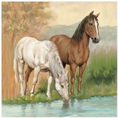 Ambiente 20x Servetten Paarden 33 x 33 cm - Paarden tafeldecoratie servetjes - Dier thema papieren tafeldecoraties