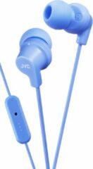 Lichtblauwe JVC HA-FR15-LA-E Kleurrijke in-ear hoofdtelefoon met afstandsbediening en microfoon