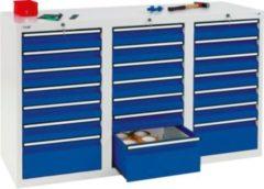 Stumpf Metall Stumpf® STS 410 Schubladenschrank mit 21 Schubladen, lichtgrau / blau - 90 x 150 x 50 cm