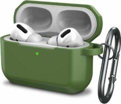 YONO Airpods Pro Case - Siliconen Hoesje met Clip - Leger Groen