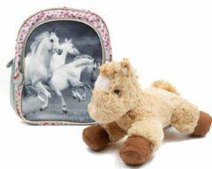 B&B Slagharen Rugtas Witte Paarden - Peuter Rugzak - 26cm - zilver glitter - Meisjes rugtas - schooltas - incl Paarden knuffel - pluche Pony - licht bruin