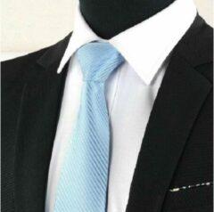 Lichtblauwe Trendy Gents Luxe Gestreepte Heren Stropdas Licht Blauw