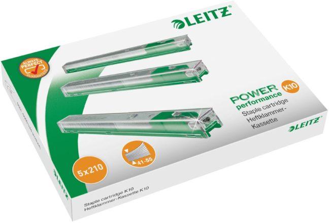 Afbeelding van Pak 5 x 210 navullingen for nietjesmachine Leitz met cartridge kleur groen capaciteit 55 vellen