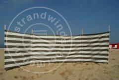 Strandwindschermen.nl Strand Windscherm 5 meter dralon taupe/wit met houten stokken