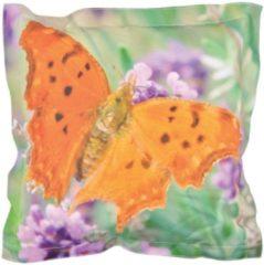 Roestvrijstalen Esschert design Sierkussen vlinderprint 60x60 cm