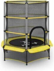 Uniprodo Kindertrampoline - met veiligheidsnet - 140 cm - 50 kg - geel