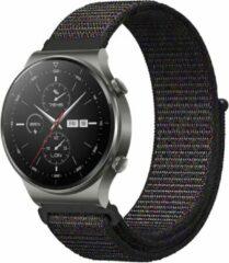 IMoshion Nylon Smartwatch Bandje voor de Huawei Watch GT 2,Huawei Watch GT 2 Pro,Huawei Watch GT 2e Sport 46 mm - Zwart